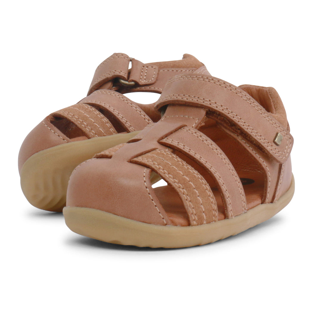 Bobux Roam Caramel Step Up Closed Toe Velcro Sandals