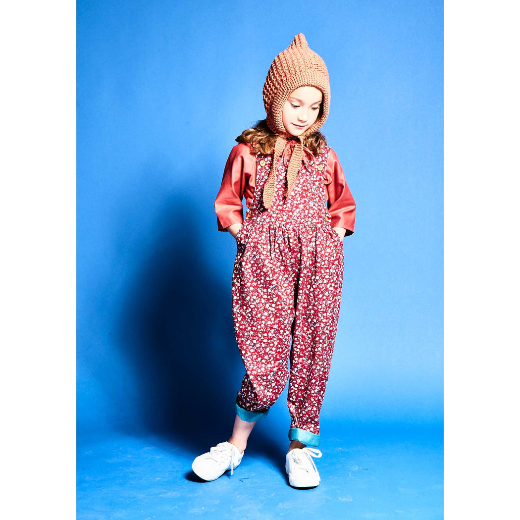 Kids Red Ditsy Floral Dungarees