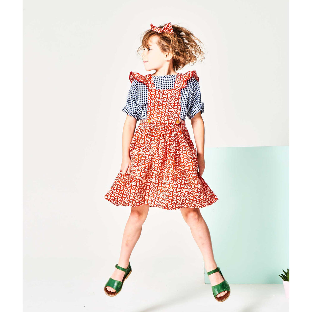 Red Tie Dye 2 in 1 Pinafore Dress