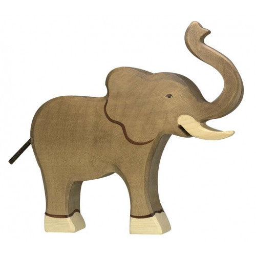 Wooden Elephant with Trunk Raised