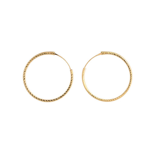 Large 9ct Gold Diamond Cut Hoop Earrings