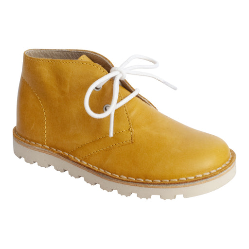 Petasil Kids Mustard Yellow Leather Lace Up Desert Boot