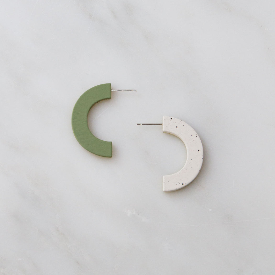 Pistachio & Eggshell Arc Stud Earrings