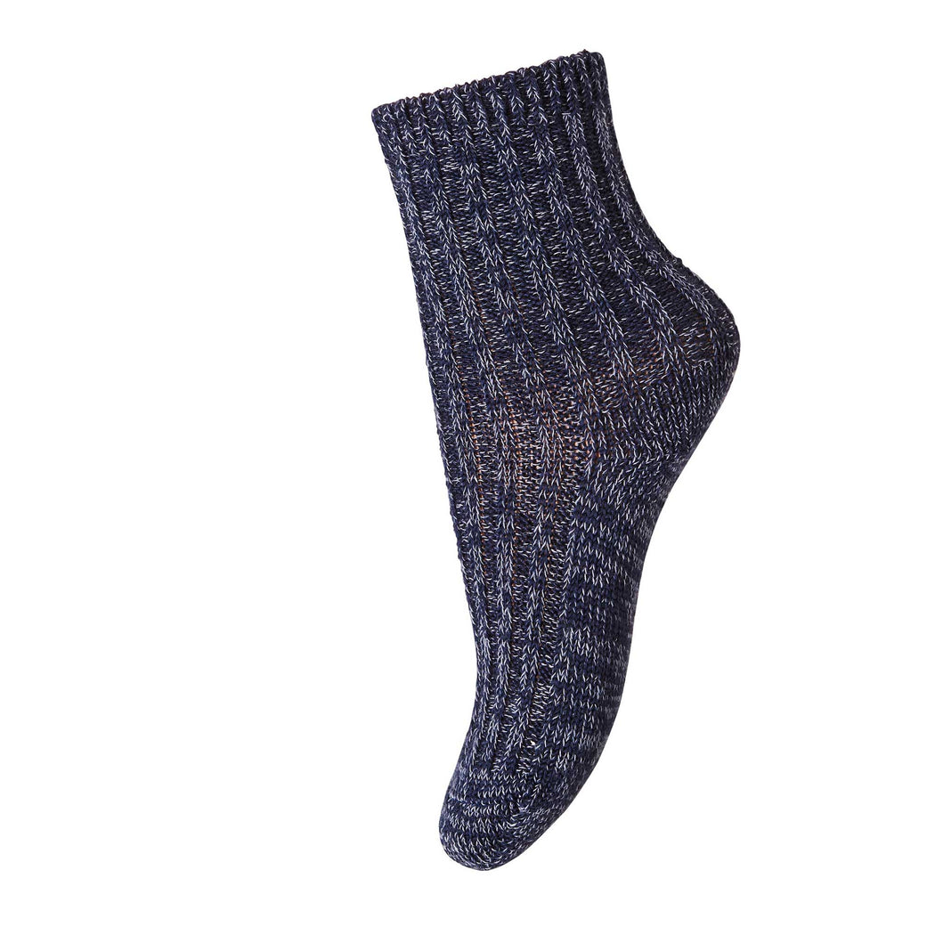 Marled Blue Kids Rib Wool Socks