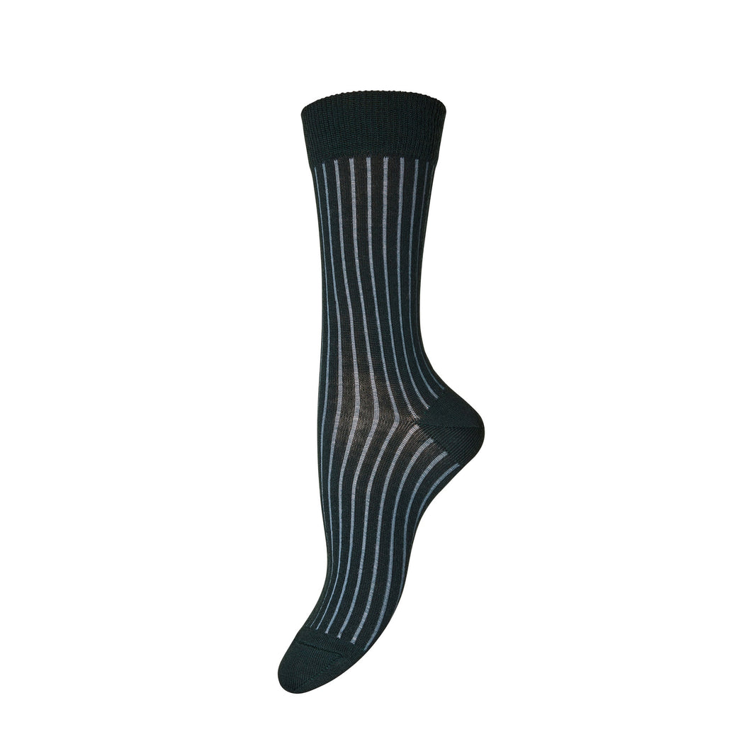 Forest Green Contrast Rib Wool Socks