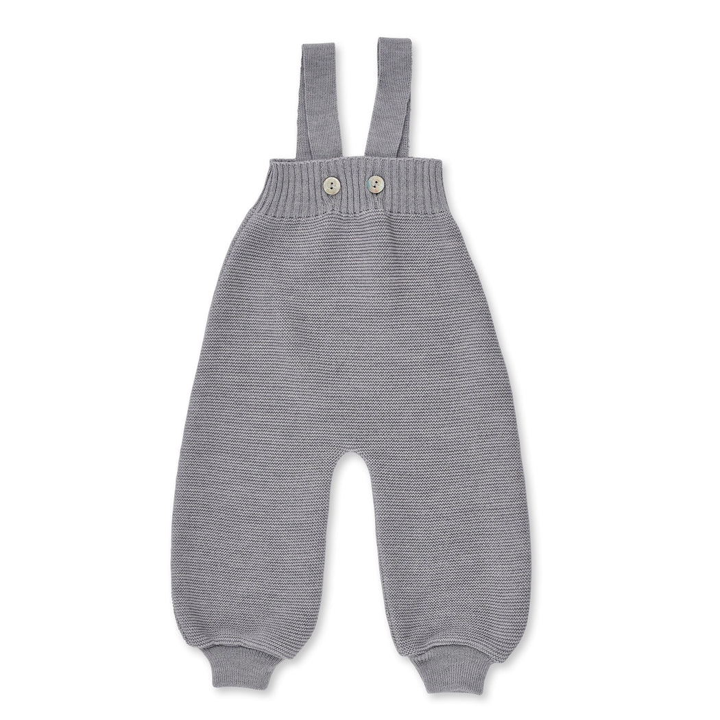 Stone Grey Wool Baby Dungarees