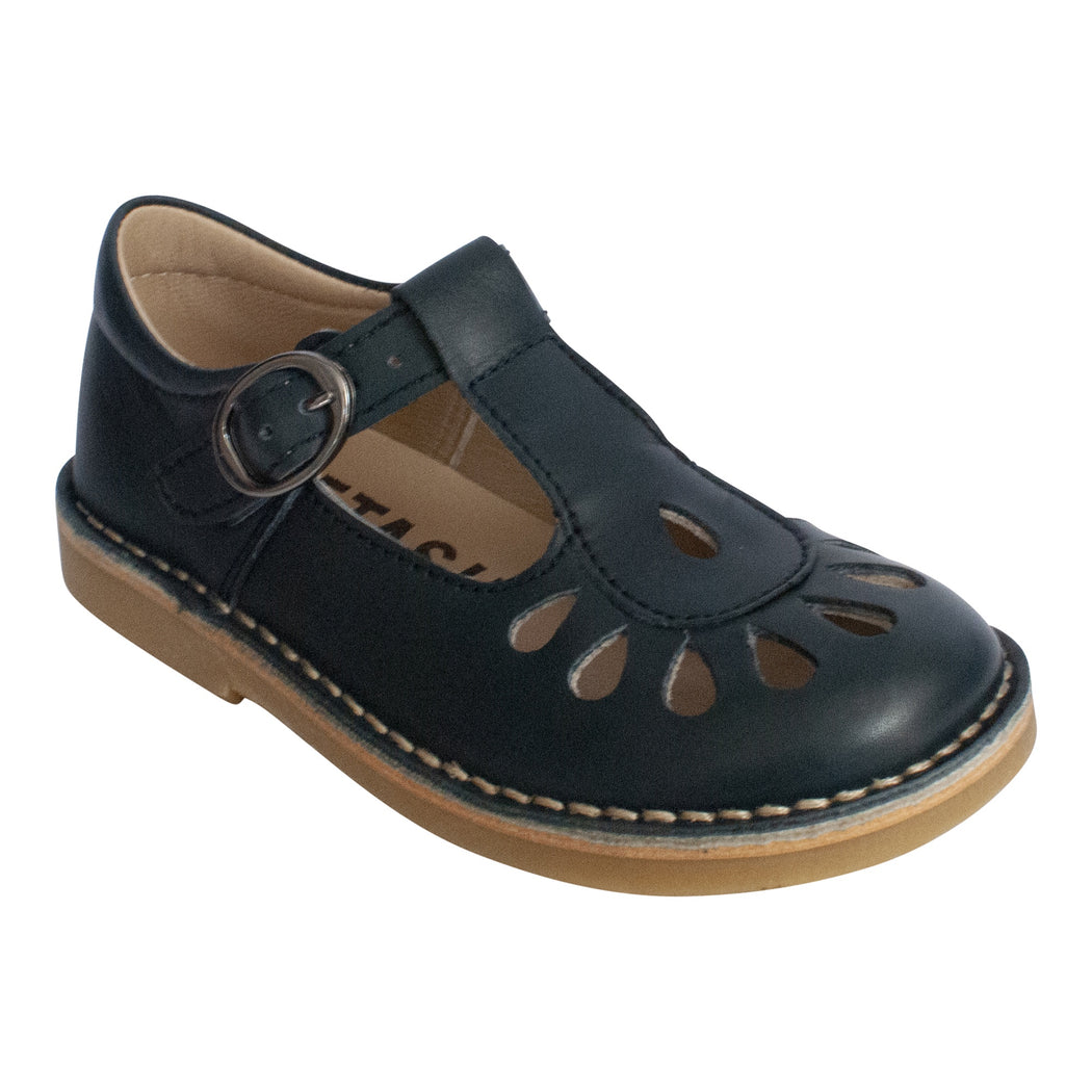 Classic navy leather T-bar shoe with teardrop cutout detail and buckle fastening.