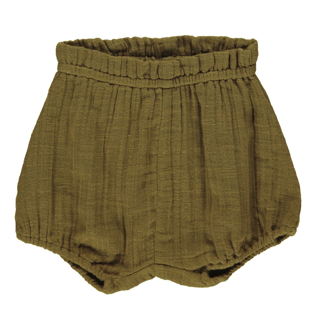 Olive Muslin Baby Shorts