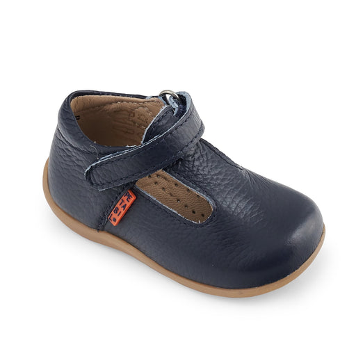 Navy Madras Leather First Steps T-Bar Shoes