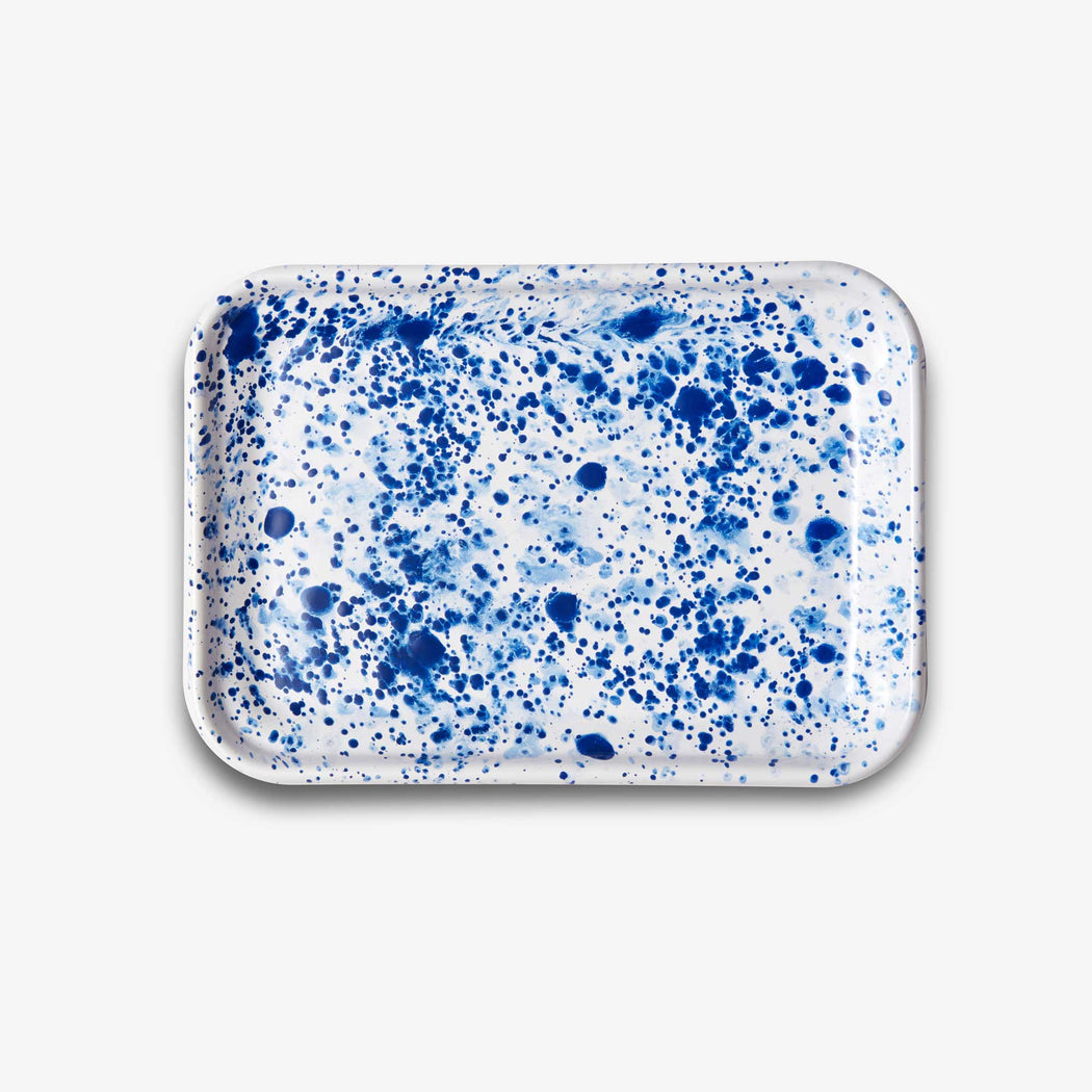 Splatter Enamel Rectangular Tray
