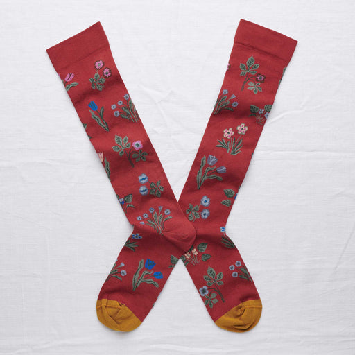 Crimson Flower Seedlings Knee High Socks
