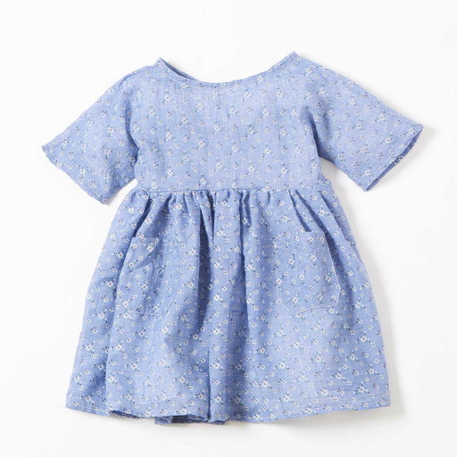 Light Blue Floral Kids Babydoll Dress