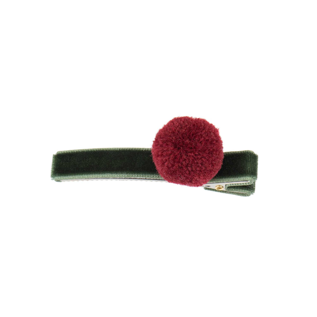 Green Velvet Alligator Clip with PomPom