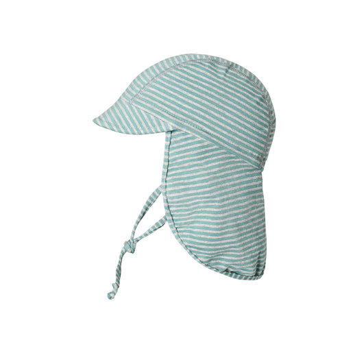 Sea Blue Stripe Cotton Hat with Neck Shade