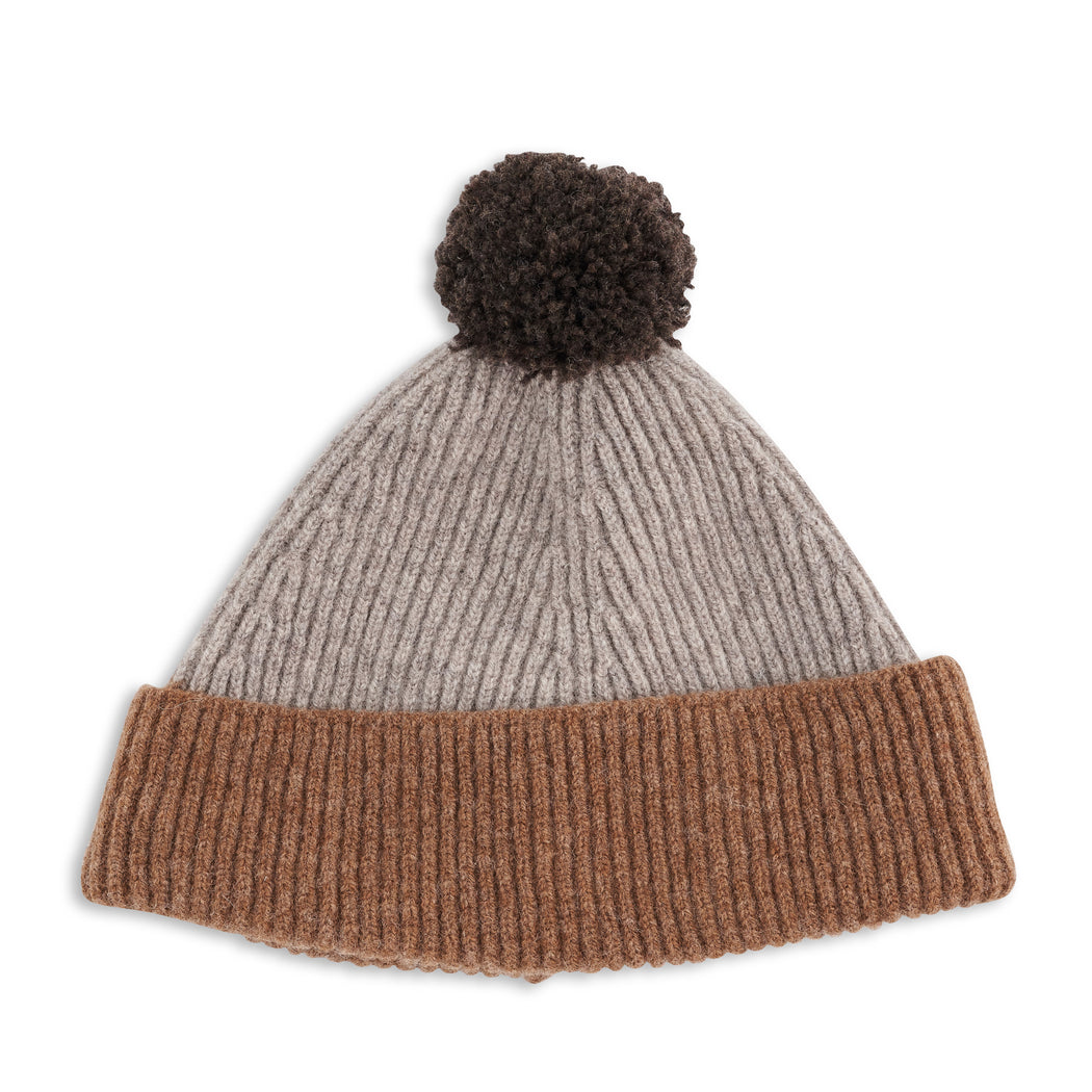 Brown Colour Block Kids Pom Pom Hat