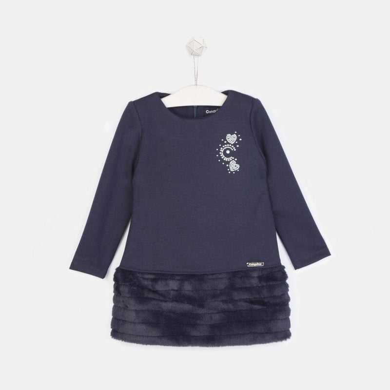 Girls Faux Fur Navy Dress