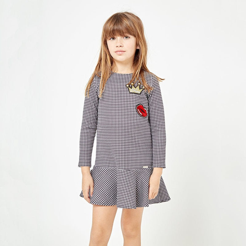 Girls Houndstooth Black Dress