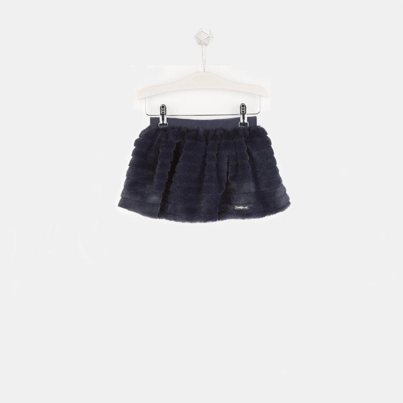 Girls Navy Faux Fur Skirt