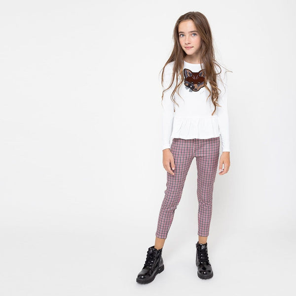 Leggings de Niña Pata de gallo Blanco