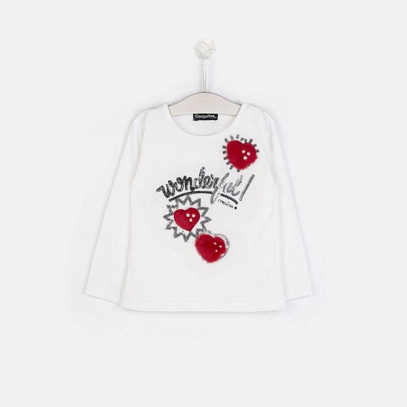 "Girls ""Hearts"" White T-shirt"