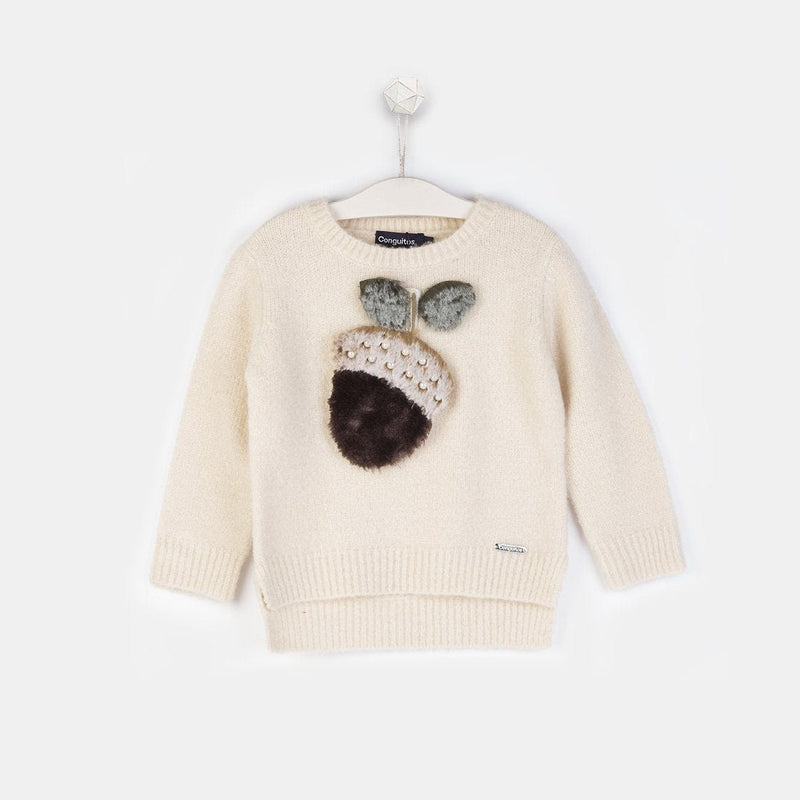 "Girls ""Acorn"" Ecru Faux Fur Sweater"