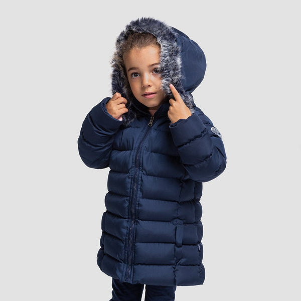 Girls Navy Faux Fur Anorak