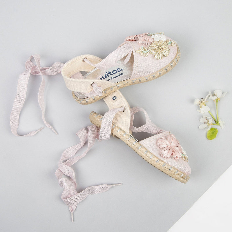 Girl's Pink Embroidery Sandals