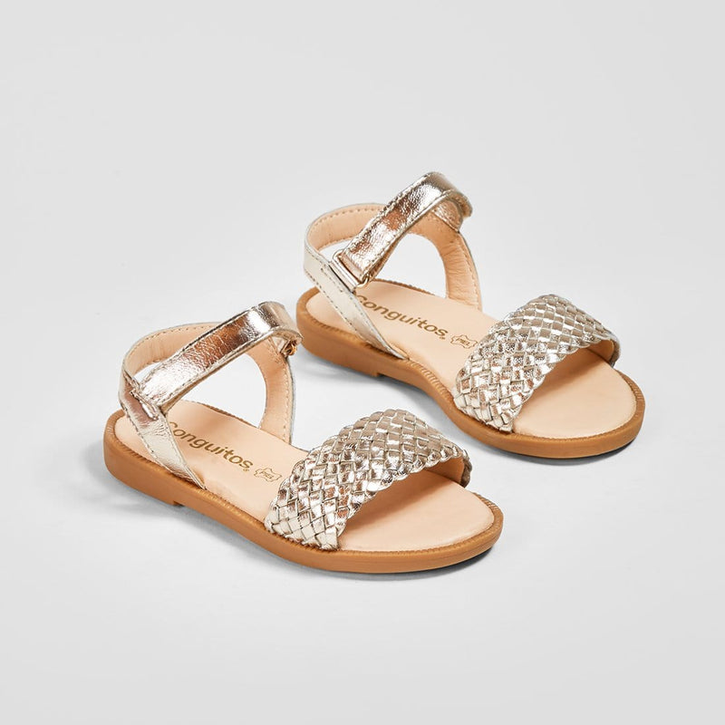 Girl's Platinum Braided Leather Sandals