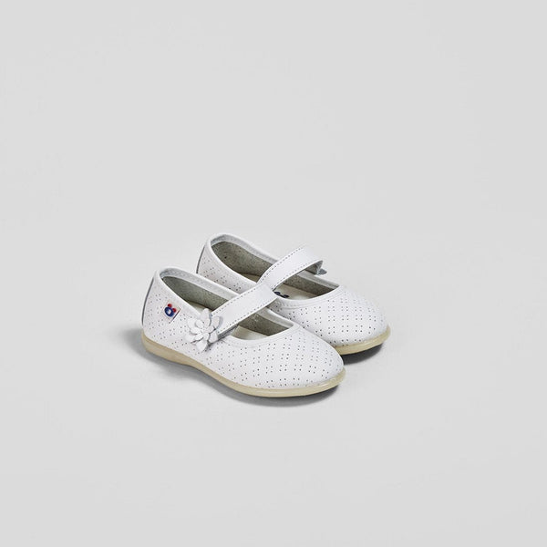 Babies Flowers White Leather Mary Janes