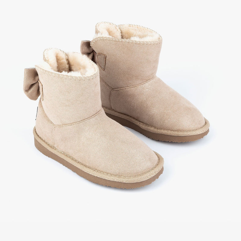 Girl's Taupe Australian Boots with Bow