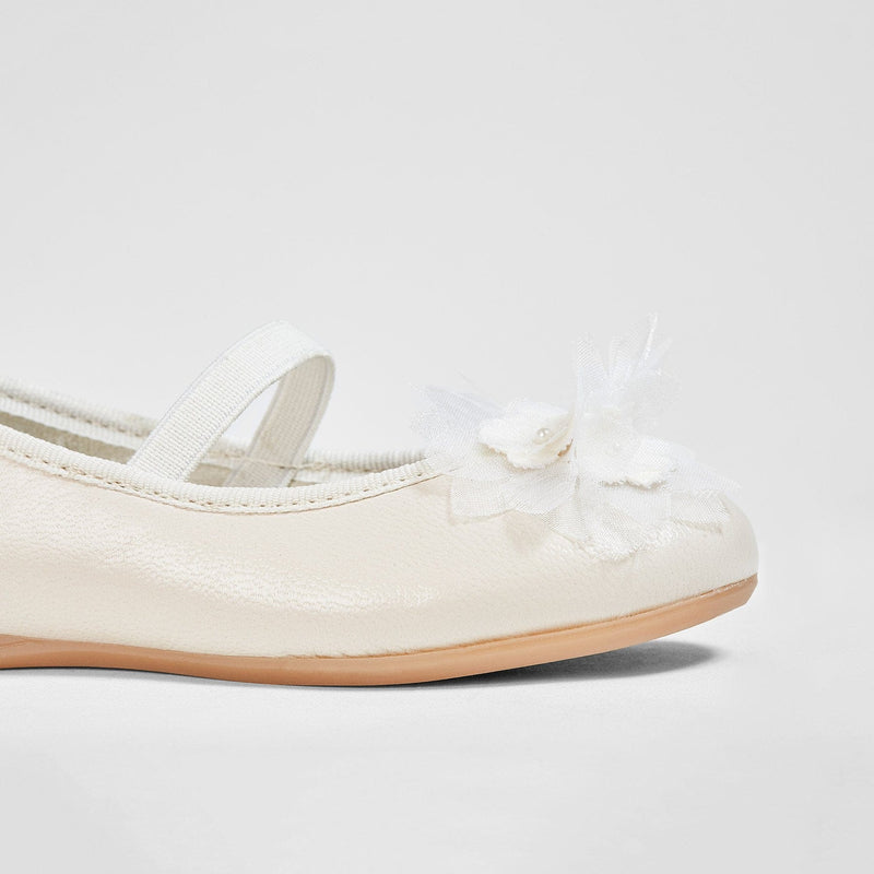 Girl's Flower Beige Leather Ballerinas