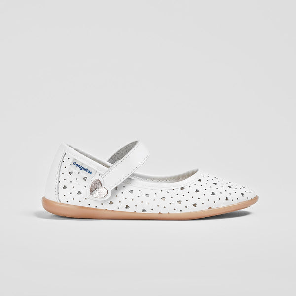 Girl's White Hearts Washable Leather Mary Jane