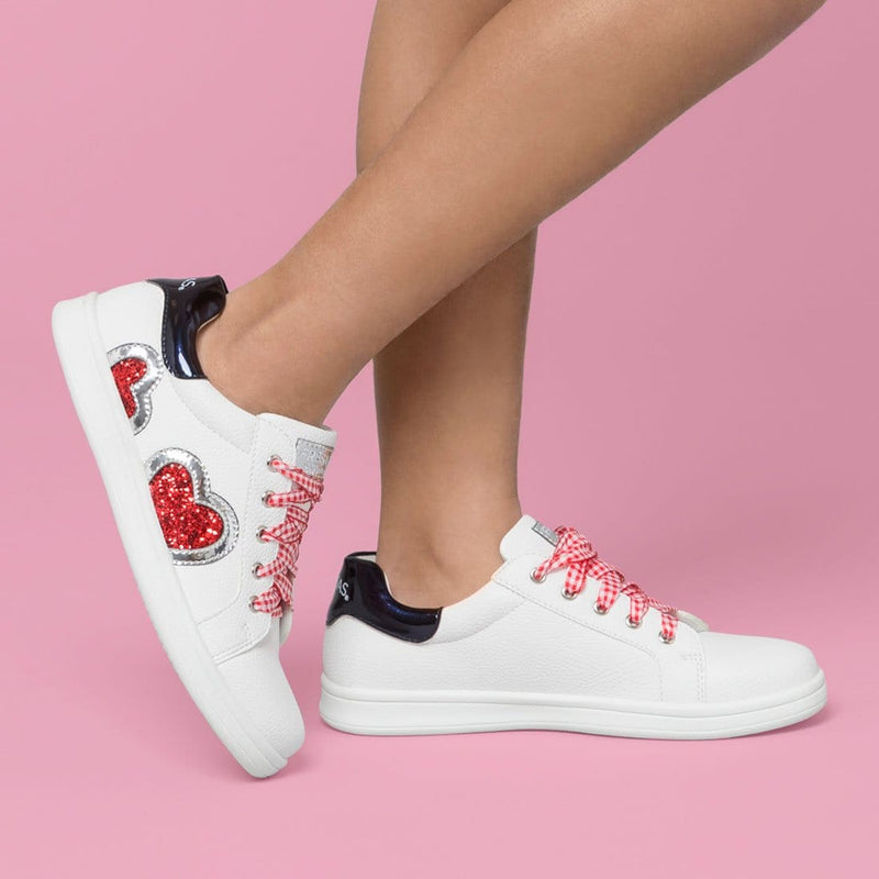 Girl's White Glitter Heart Sneakers