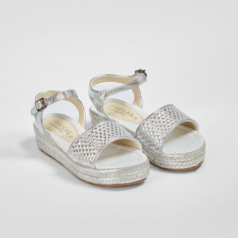 Girl's Metallic Silver Wedge Braided Sandals