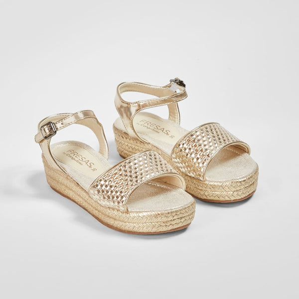 Girl's Platinum Metallic Braided Wedge Sandals