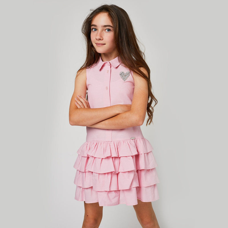 Girls Pink Ruffle Dress