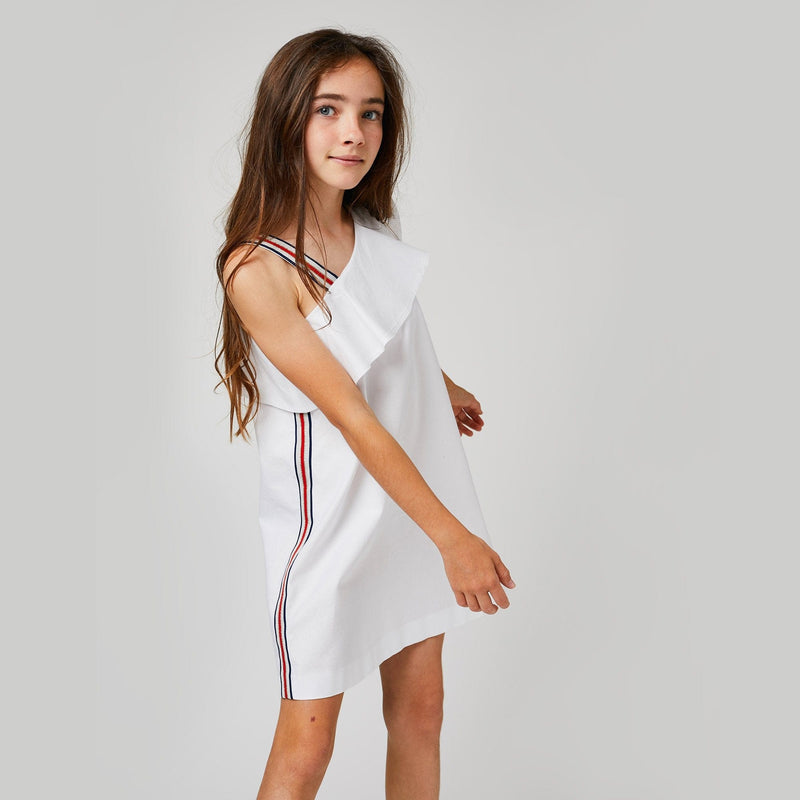 Girls White Asymmetric Dress