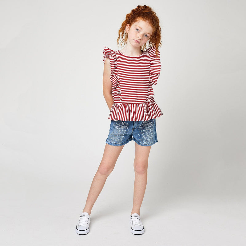 Shorts de Niña Strass Denim Claro