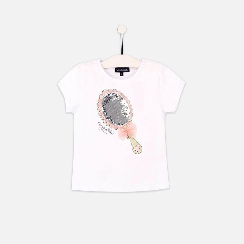 "Girls ""Mirror"" Reversible Sequins White T-shirt"
