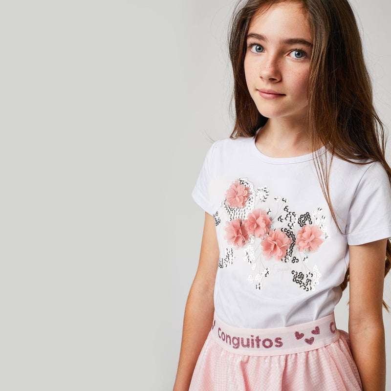 "Girls ""Flowers"" White T-shirt"
