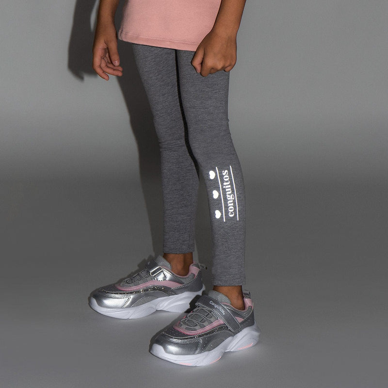 Leggings de Niña Reflectante Gris