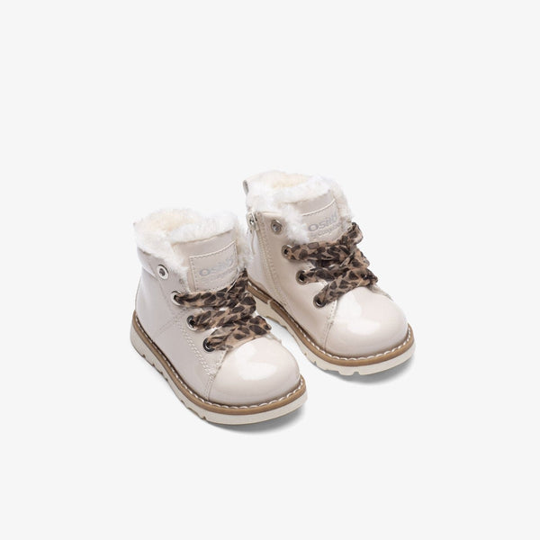Baby's Beige Patent Leather Boots