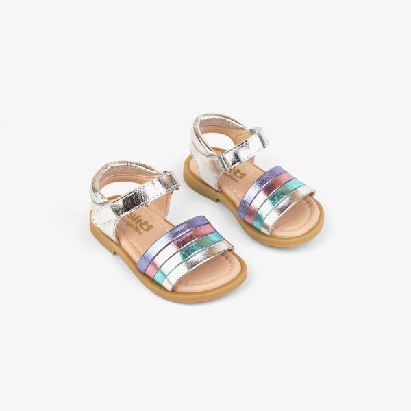 Baby's Silver Leather Strips Sandals