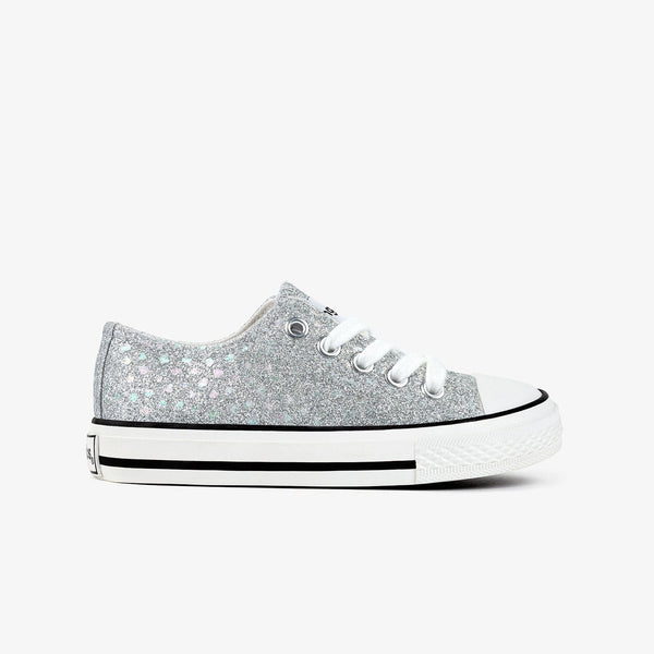 Girl's Silver Glitter Canvas Sneakers