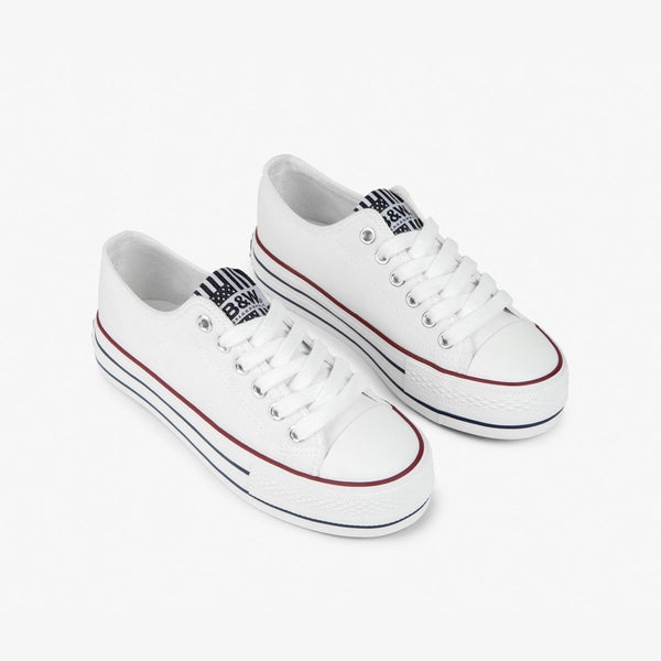 Girl's White Platform Canvas Sneakers