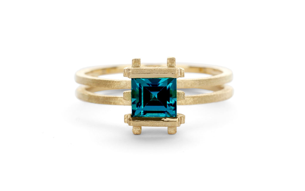 Three Strut Ring - blue tourmaline