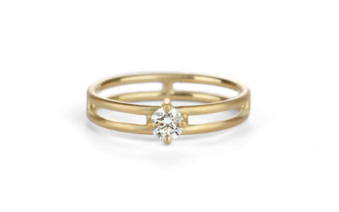 Solo Split Diamond Ring - yellow gold