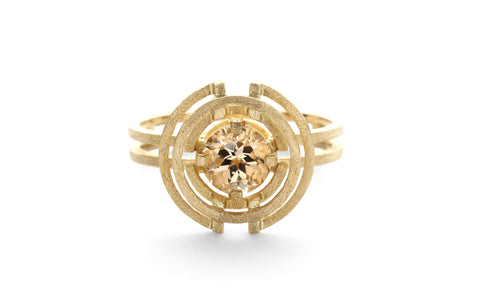 Compass Three Circle Ring - yellow tourmaline