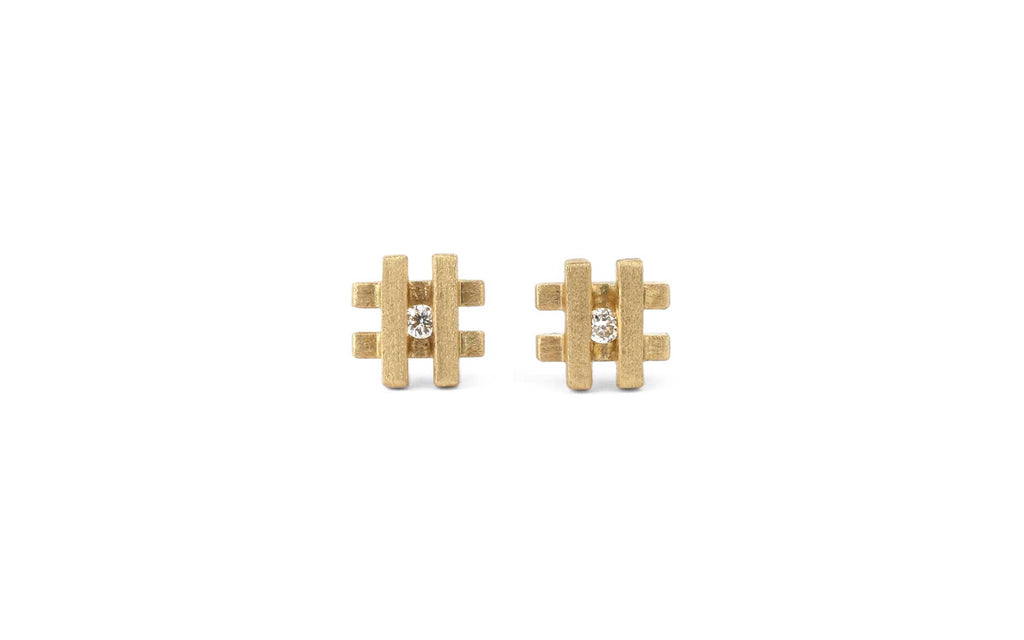 Mini Square Stud Earrings - diamond