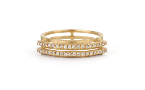Diamond Line Arc Ring - double